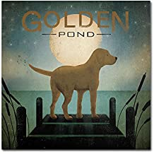 Moonrise Yellow Dog Gold Ornate Frameen Pond by Ryan Fowler Wall Decor, 18 by 18-Inch Canvas Wall Art