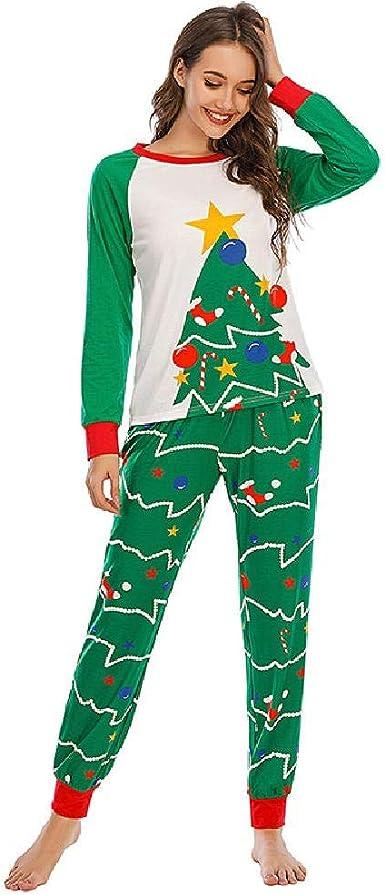 Navidad Casual Linda Mujer Suelta Ropa de casa Pijama ...