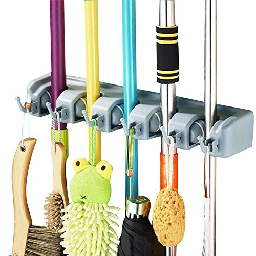 DayBuy Mop and Broom Holder Wall Closet Mounted with 5 Position and 6 Hooks Organizer Rakes Automatic Handle Grips Household Tool and Garage Storage Organization Racks (Automatic House)