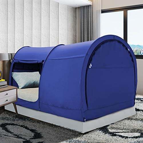 Bed Tent Dream Tents Bed Canopy Shelter Cabin Indoor Privacy Pop Up Warm Breathable Twin Size for Kids and Adult Patent Pending Navy(Mattress Not Included)
