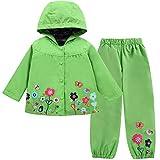 LZH Girl Baby Kid Waterproof Hooded Coat Jacket Outwear Suit Raincoat Hoodies with Pants Green 6(For Age 5-6Y)