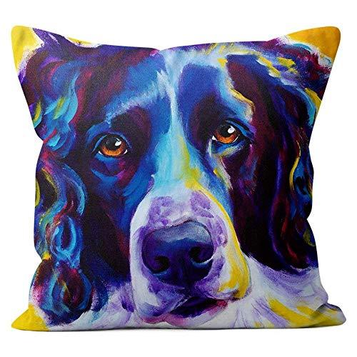 Kidmekflfr English Springer Spaniel Throw Pillow Couch Cushion Decorative Accent Pillowcase Cover 18x18 - Pillow Springer Spaniel