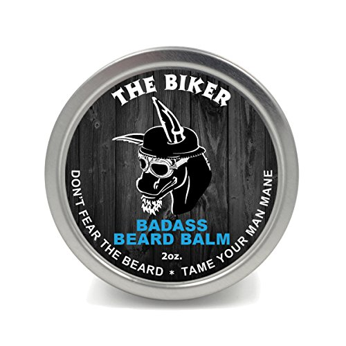 Badass Beard Care Beard Balm - The Biker Scent, 2 Ounce - All Natural Ingredients, Keeps Beard and Mustache Full, Soft and Healthy, Reduce Itchy and Flaky Skin, Promote Healthy Growth