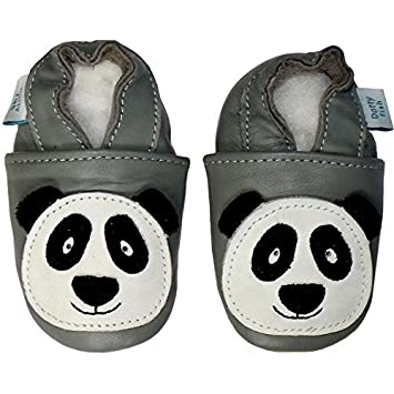 e23c905cc63523 Amazon.com   SOFT LEATHER BABY SHOES WITH SUEDE SOLE - GREY PANDA - DOTTY  FISH   Baby