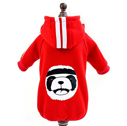 ZUNEA Sports Pet Hoodies for Small Dog Fleece Winter Warm Jacket Coat Sweatshirt PANDA Puppy Cat Doggie Costumes Apparel Clothes Red L
