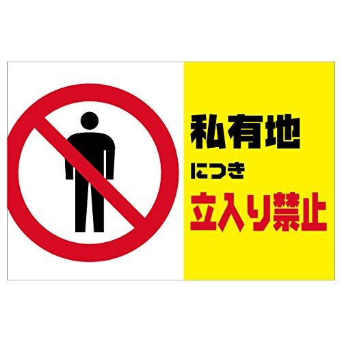 表示看板 「私有地につき立入り禁止」 反射加工なし 横型 特大サイズ 91cm×135cm B01DU0AT84