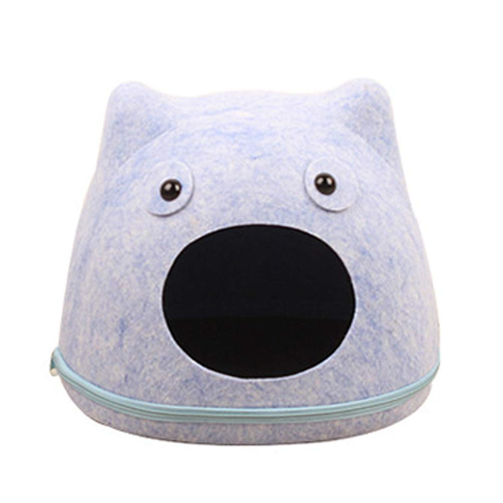 bluee Kennel Pads Dog Beds The Dog's Bed,Cartoon Cat Face Felt Premium Plush Dog Beds in Oxford Cloth, Fully Washable, Extremely Soft Comfortable Cat Bed Pet Supplies Cover (color   bluee)