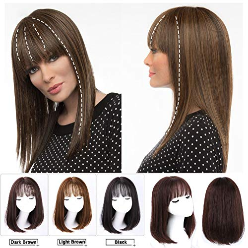 """One-Piece Crown Hair Replacement 15x15cm Clip in Topper with 3D Wispy Fringe Extension Nature Hairline 18"""" Wiglet Hairpiece (Black Brown)"""