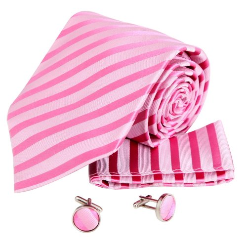 H5041 Pink Striped Business Gift Silk Ties Wedding Presents Cufflinks Hanky Set 3PT By Y&G