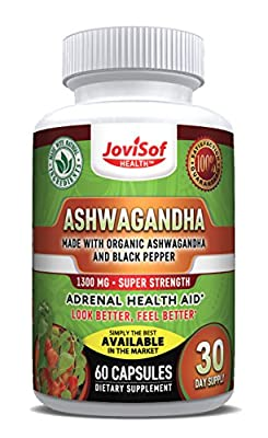 Ashwagandha-Organic-Capsules with Black Pepper Extract 1300 mg | Super Strength Herbal Supplement, Natural Anxiety Relief + Stress Support + Mood Enhancer - Soft Vegan Pills | 60 Count