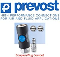 "(1) Prevost ISI, 1/4"", Safety, Compressed Air, Coupler/Air Fitting, (1) Industrial Profile, Male Threaded Plug COMBO, 3 YR MANUFACTURERS LEAK FREE WARRANTY – Retail Clip Packaged"