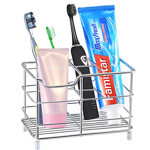 Famistar X-Large Toothbrush Holder, Stainless Steel Bathroom Storage Organizer Stand Rack - Multi-functional 6 Slots for Electric Toothbrush, Toothpaste, Cleanser, Comb
