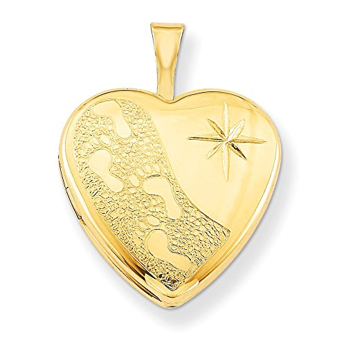 1/20 Gold Filled 16mm Footprints Heart Photo Pendant Charm Locket Chain Necklace That Holds Pictures W/chain Fashion Jewelry Gifts For Women For Her