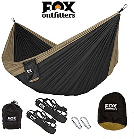 Lightweight Portable Nylon Parachute Hammock for Backpacking Hammock Straps /& Steel Carabiners Included Fox Outfitters Neolite Double Camping Hammock Beach Yard Travel