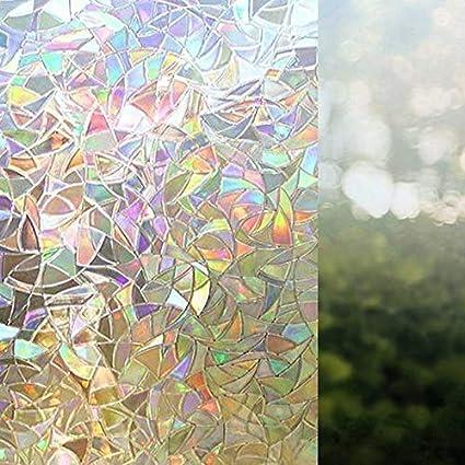 Moligh doll 2Pz Griglie Elettrostatiche Prive di Colla per Pellicola di Vetro 3D Rifrazione Irregolare del Modello Griglie Colorate per Finestre nel Vetro