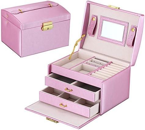 Generic blanco: pendientes y collar de caja de joyas cajas joyas contenedor tren estuche de maquillaje organizador de joyas para las mujeres de regalo de cumpleaños feliz: Amazon.es: Hogar