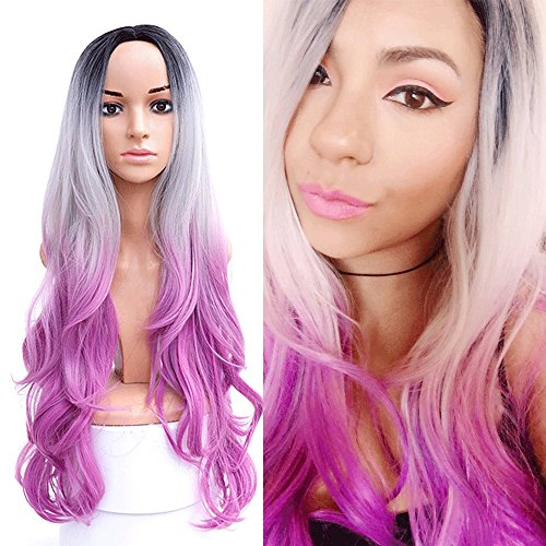 Purple Long Wig (SHANGKE Long Ombre Colorful Wig Cosplay Anime Party Women Ombre Curly Wavy Long Hair Wigs Pink Purple Wigs For Black Women)