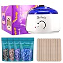 MASCHERI Rapid Melt Hair Removal Waxing Kit Electric Hot Wax Warmer with 4 Different Flavors Hard Wax Beans and Wax Applicator Sticks 3.5 oz A Bag Of Wax Beans (Chamomile,Lavender,Nature,Chocolate)