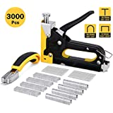 Kohree 2020 Upgraded Staple Gun, 3 in 1 Heavy Duty Staple Gun with 3000 PCS Staples and Staple Remover, Manual Steel Nail Gun for Upholstery, Fixing Material, Decoration, Carpentry, Furniture