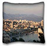 """Custom ( City europe croatia mediterranean images dalmatia adriatic ) Zippered Body Pillow Case Cover Size 16""""X16"""" suitable for Twin-bed PC-White-4318"""