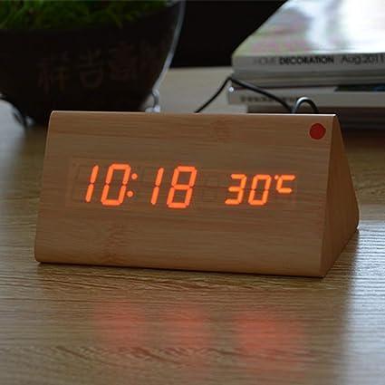 QZTG Despertador Digital Relojes De Madera Led De Madera del Despertador del Despertador del Reloj De
