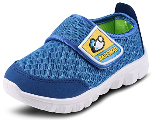 Boys Wide Water Shoes - DADAWEN Baby's Boy's Girl's Mesh Light Weight Sneakers Running Shoe Blue US Size 9.5 M Toddler