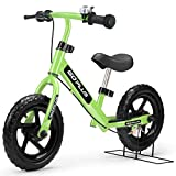 Goplus 12' Kids Balance Bike No-Pedal Learn to Ride Pre Bike Push Walking Bicycle Adjustable Height with Bell Ring and Stand (Green)