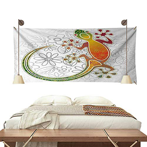 (ScottDecor BatikWall tapestryNative Southeast Asian Common House Gecko Moon Lizard Tropical Monster Graphic DesignColorful Tapestry 84W x 54L)