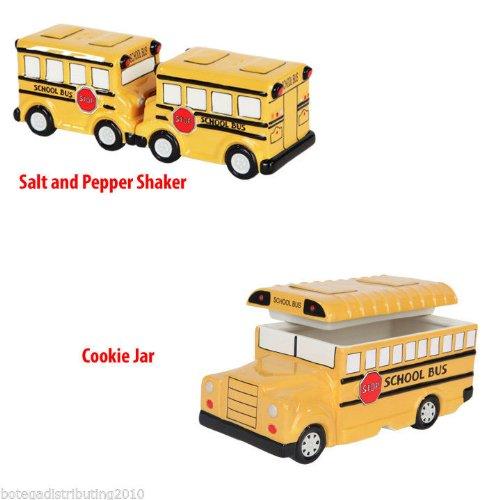 Bus Cookie Jar (Student School Bus Set of 2 (Cookie Jars + Salt & Pepper Shakers))