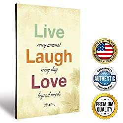 ZENDORI ART Live Laugh Love Wall Plaque Decor - Inspirational French Country Decorative Signs for Family (Wood Art, 12x18)
