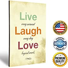 "ZENDORI ART Live Laugh Love Wall Plaque Decor - Inspirational French Country Decorative Signs for Family (Wood Art, 12""x18"")"