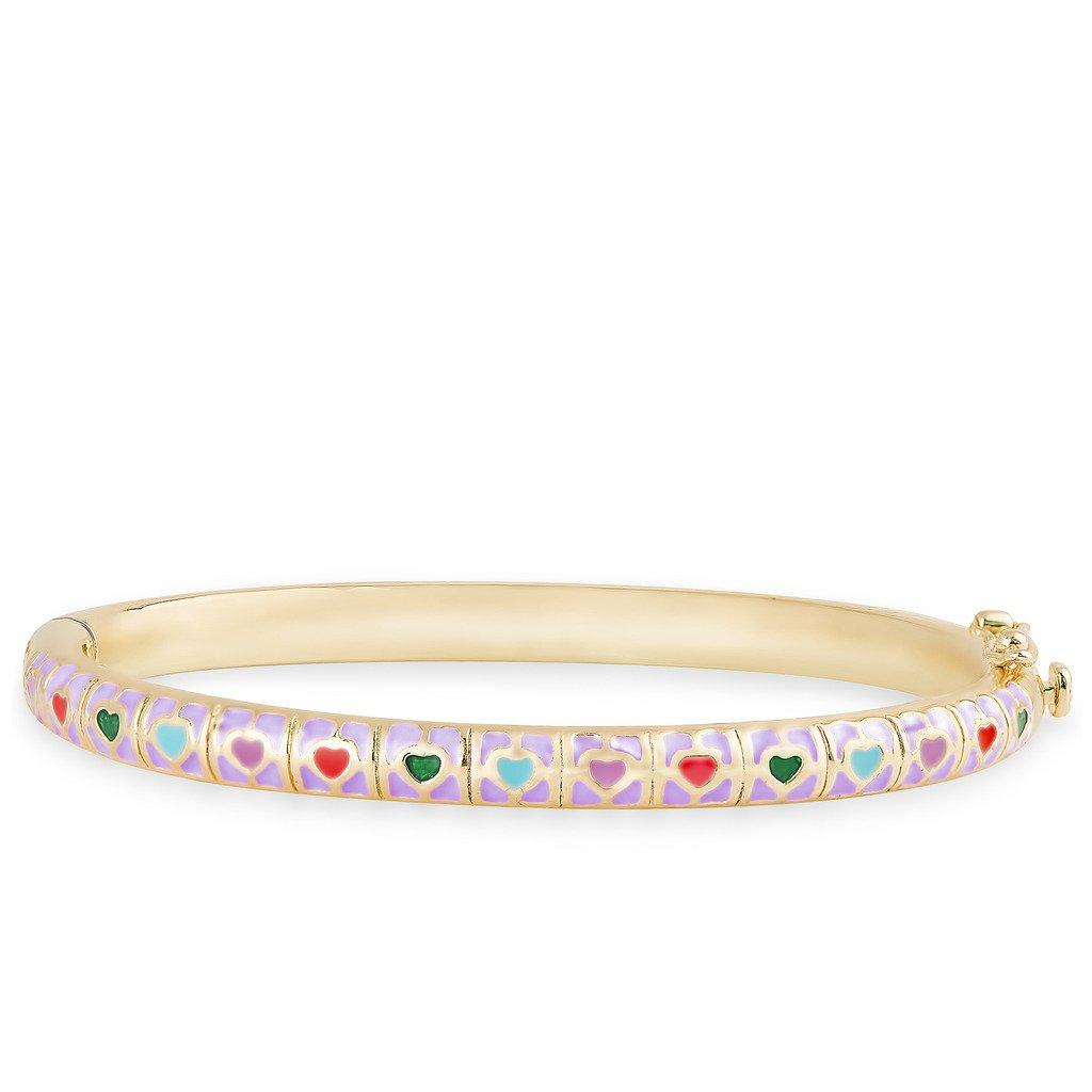 Lily Nily Girls Purple Heart Tiles Bangle Bracelet