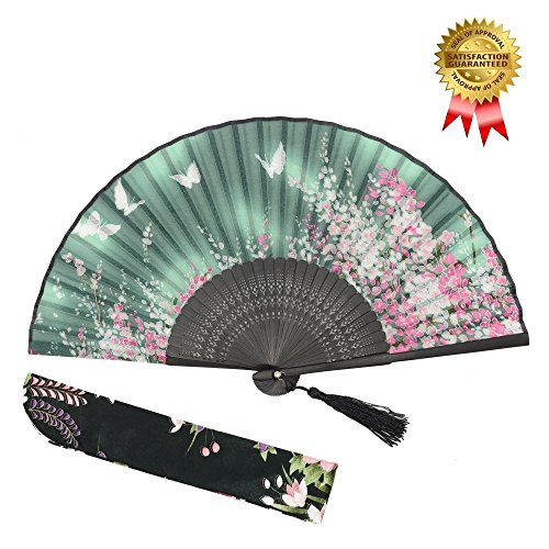 OMyTea Women Hand Held Silk Folding Fan with Bamboo Frame - With a Fabric Sleeve for Protection for Gifts - Sakura Cherry Blossom Pattern (WZS-2)