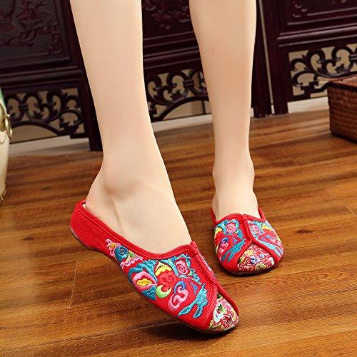 Broder Chaussures Marche Brodée Appartements Décontracté À Sandales Gules Crafts Broderie De Pour Xyjher Femme D'été Ballet Chinois Confortable Style f0qw64