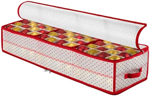 """Plastic Under-Bed Christmas Ornament Storage Box Large with 2 Sided Dual Zipper Closure - Keeps 96 Holiday Christmas Ornaments, Xmas Decorations Accessories, 3"""" Compartments - Sturdy Flexible Plastic"""