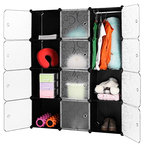 LANGRIA 12-Cube DIY Modular Shelving Storage Organizing Closet with Translucent Doors and Opaque Curly Patterned Cube Design for Clothes, Shoes, Toys (Black and White)