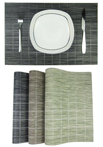 YILIN Table Placemats, Set of 4 per Pack, Place mat Vinyl,Heat-Resistant, Washable Easy to Clean (A-Black) from YILIN