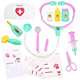 Play Medical Doctor Kit with Kids Doctor Coat Nurse Cap and Equipment Set for Toddlers by Peradix