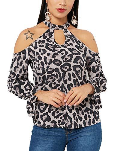 YOINS Women Blouse Leopard Cold Shoulder Long Bell Flared Sleeves Flouncy Tops E-Leopard XL