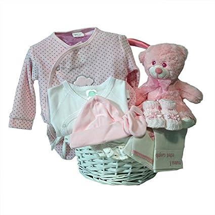 Canastilla regalo bebe - Primera Puesta Optima rosa - Cesta recién ...