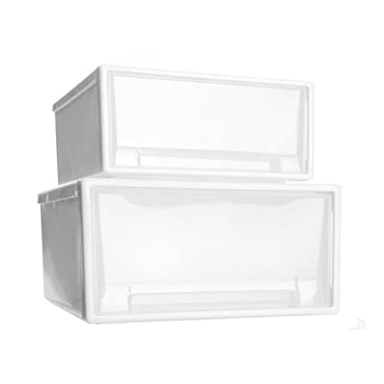 WitHome Clothes Stacking Drawer Pulls White Frame With Clear Plastic  Bins Storage Cabinet Organizers White Drawer Pulls24