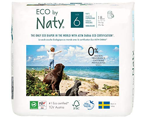 Eco by Naty Premium Pull On Pants for Sensitive Skin, Size 6, 18 Diaper Pants