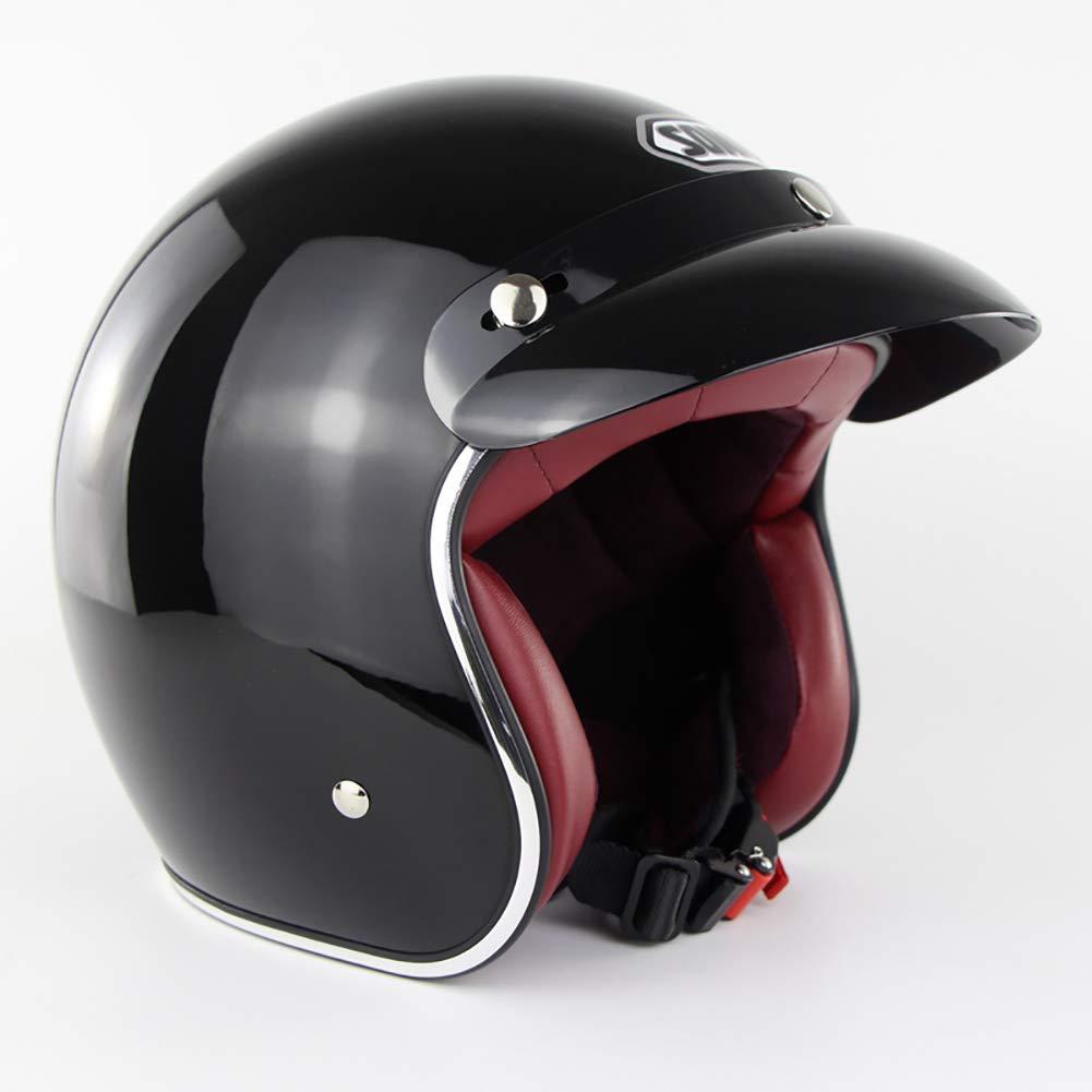 QZFH Moto Harley 3//4 Casque Demi Visage Ouvert Capitaine r/étro Scooter Pilote Casques de s/écurit/é Moto avec Pare-Soleil pour Hommes et Femmes Quatre Saisons Unisexe