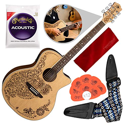- Luna Henna Oasis Select Spruce Acoustic/Electric Guitar, Open Pore Natural with Guitar Strap & Accessory Bundle