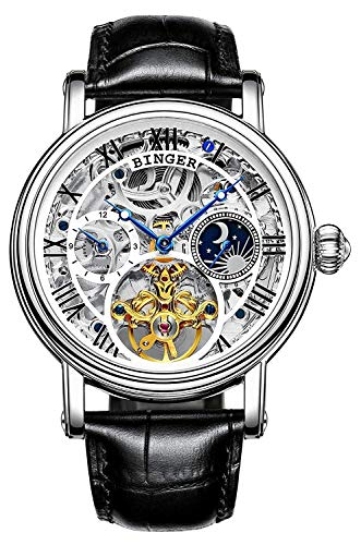 Men's Golden Watch Automatic Mechanical Stainless Steel Steampunk Skeleton Leather Band Blue Pointer (Silver White)