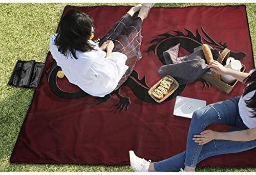 Suo Long Drago Cinese Nero Coperta per Picnic con stuoia per Picnic all'aperto, Realizzata a Mano per Prato da Campeggio Parco Spiaggia