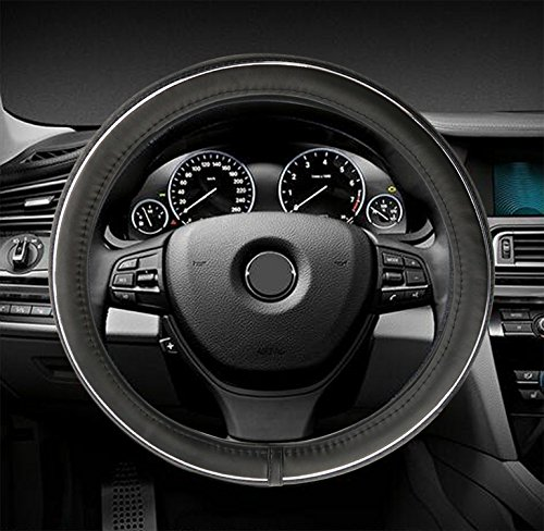 Gomass Car Steering Wheel Covers Universal 15 inch - Genuine Leather, Breathable, Anti Slip & Odor Free (Middle Size, Black & (Tone Steering Wheel Cover)