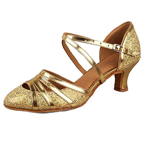HIPPOSEUS Strap Model Heel Dance Ballroom Cross 5cm Shoes Women's Modern Low Shoes Glitter Latin Wedding Gold Toe 51 Closed Tango raBrwEq