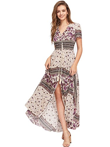 (Milumia Women's Button Up Split Floral Print Flowy Party Maxi Dress Medium Multicolor-Purple)