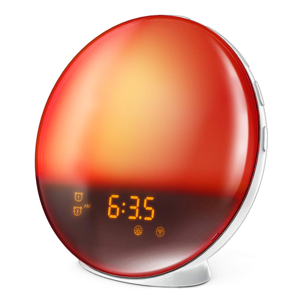 LATME Sunrise Alarm Clock Wake Up Light Works with Alexa Google Home with  Colored Sunrise Simulation and Sunset Fading Night Light for bedrooms,FM